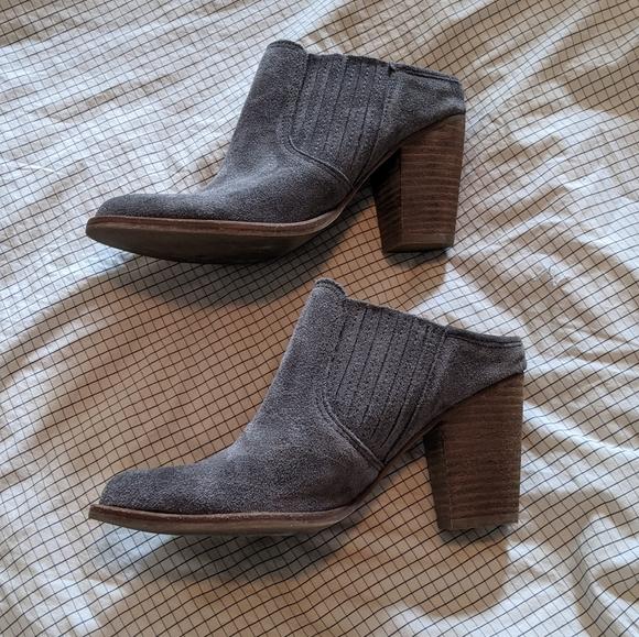 Steve Madden grey heeled mules